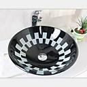 17mm doble templado fregadero recipiente de vidrio blanco y negro con juego de grifo de agua caliente y fría
