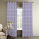 artística solapado curvas púrpura cortina (dos paneles)