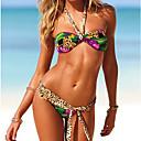 atractivo colorido estampado de leopardo playa halter bikini conjunto ropa de mujer de las mujeres qearl