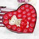 20 rosa corazón en forma de aceite esencial de rosa de la flor del jabón con el oso (palabras al azar)