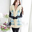 abrigo de lana cuello de piel de la moda de las mujeres dabuwawa