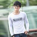 Mens Round Collar Printing Long Sleeve T-Shirt