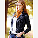 color sólido ajuste delgado de la chaqueta de cuero de la PU