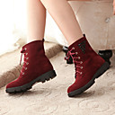 Francis Cat Womens Fashion PU Suede Shoelace Rivet Short Boots 69-505 Red