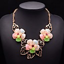 JQ Jewelry Womens Hollow Leafs Resin Flower Necklace