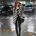 JYS Women's Long Sleeve Slim Fashion Lapel Neck Causual Stripe Knitwear Coats