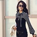 cuello de solapa de la raya de la manga larga de la camiseta de las mujeres wenyan