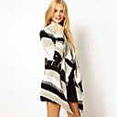 veo color de contraste patrón ocasional del suéter de las mujeres