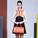 2014 nueva caída de empalme de la moda del color del contraste vestido de manga larga ol