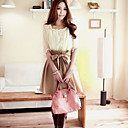 color de contraste de las mujeres Weiyi dos piezas como el vestido