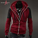 MANWAN WALKMens Casual Slim Sports Coats.Patchwork Double Zipper Hooded Jacket.