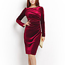 Q.S.H Womens Solid Color Long Sleeve Silk Fitted Dress