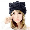 houtong flores de cáñamo de invierno las mujeres de moda del oído de gato que hacen punto el sombrero de la gorrita tejida