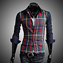 camisa de manga larga de verificación moda Luoyi