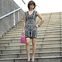 Womens V  Neck Jacquard Sleeveless Dresses