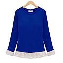 de manga larga de gasa Feiya loto cuello redondo borde de la hoja de tocar fondo t-shirt 8732 azul, negro