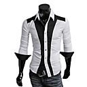 Camisa Fengshang Hombres Contraste nuevo estilo Bodycon Color Blanco