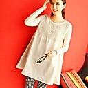 algodón de las mujeresamp;vestido básico de la manga larga de lino