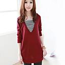 una camisa de manga larga de tocar fondo nuevo color sólido rayas de cuello suelto v moda coreano Belard