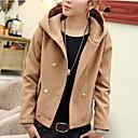 color sólido con capucha doble botonadura abrigo de lana