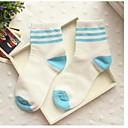 calcetines raya del caramelo del bromista de tres barras de algodón medias de Corea del Sur de la mujer zhuoshang cielo azul a692