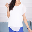 Anne Womens Round Collar All Match  Short Sleeve Chiffon T Shirt