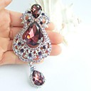 aleación de moda de diamantes de imitación de cristal púrpura broche flor gota de las mujeres