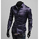 Brother Causal Slim Long Sleeve Shirt  C54(Purple,Black,Wine)