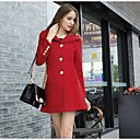 Womens Solid Color Lapel Double Breasted Tweed Coat with Belt(More Colors)