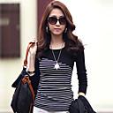 Loria bodycon cuello redondo estilo coreano de la camiseta de las mujeres