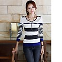 Womens Round Neck Striped Long Sleeve Bottoming Slim Pullover Sweater
