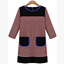 WILD CAT Women's Long Sleeve Loose Fit Round Collar Check Causual Temperament Simple Dresses