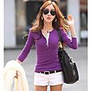 camiseta de manga larga de color sólido de las mujeres equipada