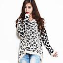 Womens Round Collar Leopard Round Collar Stitching Brief Paragraph Sweater