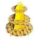 Navidad amarillo tres capas de soporte de la torta de cartón