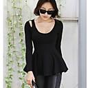 de las mujeres Mingli manga larga delgada de la moda cuello redondo del temperamento sencillo camisetas