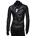 Lesen Mens Stand Collar Fashion Dual Zippers Casual Placket Slim Leather Bike Jacket O