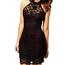Womens Halter Sleeveless Lace Bodycon Mini Dress