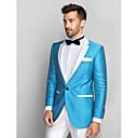 Azul y Blanco Polester Delgado Tuxedo Fit de dos piezas