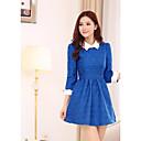 Womens Lapel Nine 3/4 Sleeve Dresses