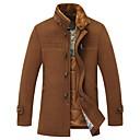 abrigo de lana de cuello de pie de magicredmen con un cuello de piel