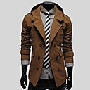 Mens Lapel Casual Double Breasted Hooded Coat