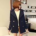 color sólido de doble solapa de pecho abrigo de cuello de las mujeres de los kors