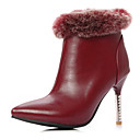 Francis Cat Womens Fashion PU Rabbit Fur Stiletto Short Boots I-4-4