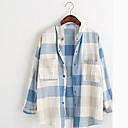 Aiwei camisa de manga larga bolsillo comprobado de las mujeres