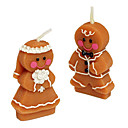 A Couple Of Christmas Candle Gingerbread Husband And Wife Orange ,Paraffin