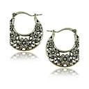 Wholesale Vintage 30mm Hoop Earrings Tibetan Silver Caving Flower Earrings