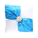 Elegant Wedding Ring Pillow With Blue Sash  Pearls