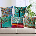 Set of 5 Beautiful Flower Tree Cotton/Linen Decorative Pillow Cover