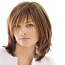 Capless Mix Color Medium Length High Quality Natural  Straight Hair Synthetic Wig with  Full Bang